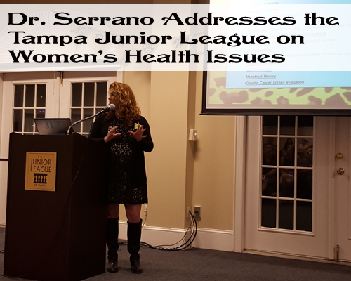 Dr Serrano on womens health at the Junior League Tampa