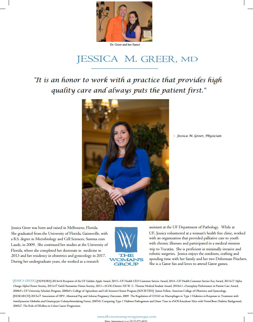 Jessica Greer, MD - The Woman's Group OB GYN Tampa Florida